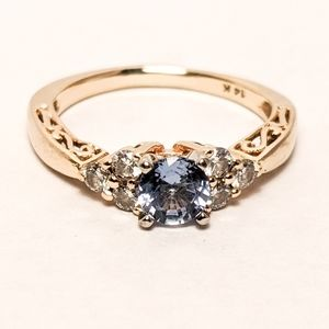 Sapphire and diamond 14k gold engagement ring